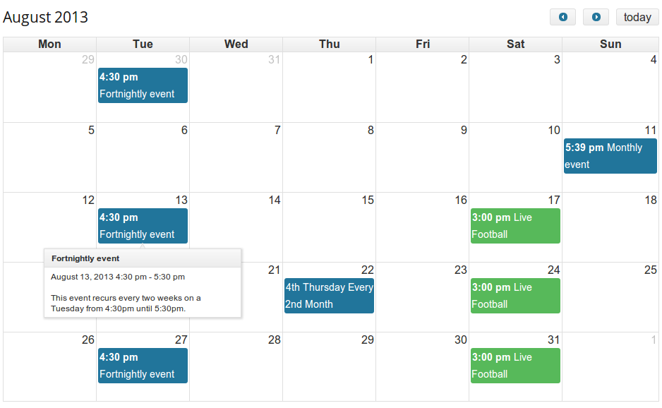 Calendar Event Organiser Docs