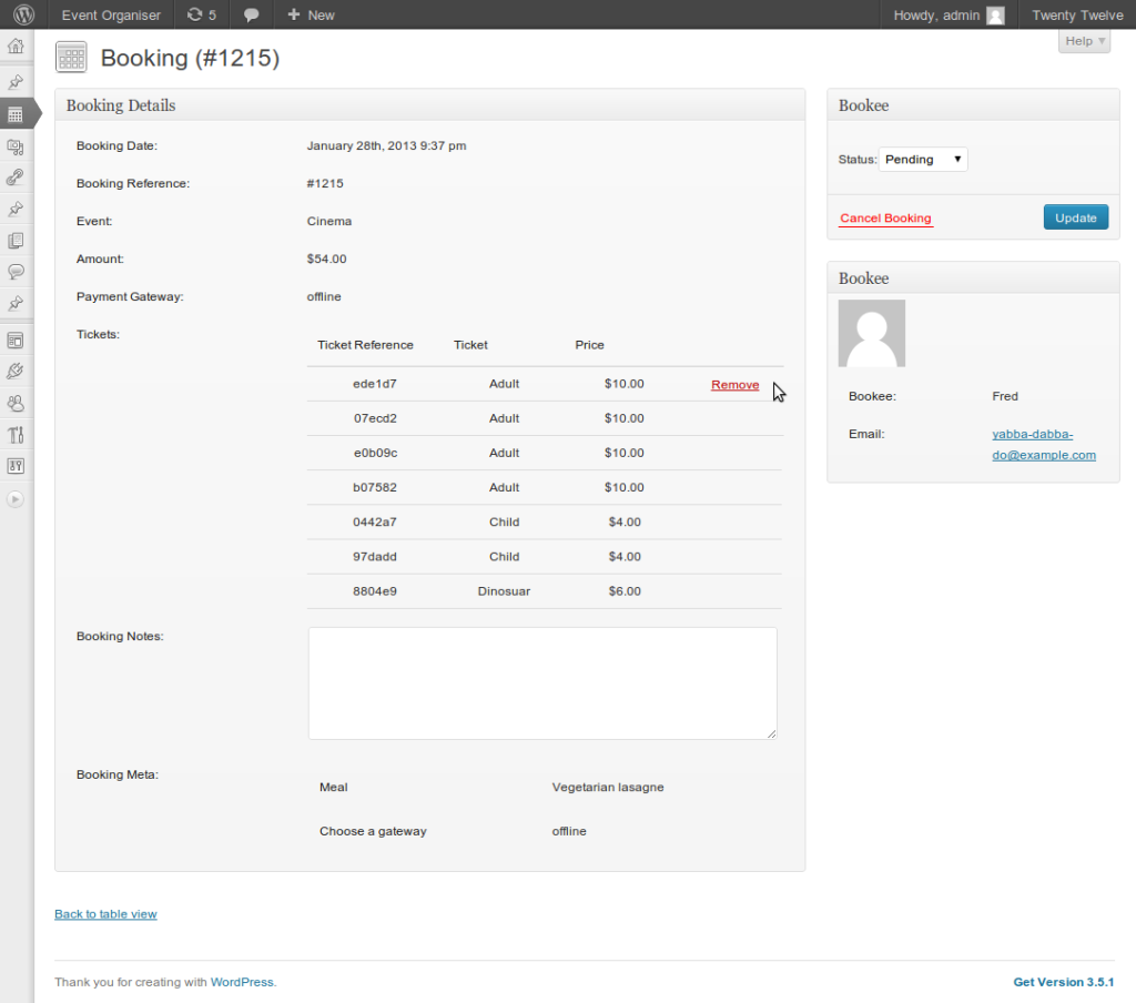 Booking admin page