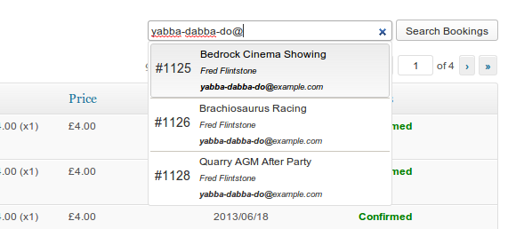 You can now search bookings by ID, bookee name or log-on, or bookee email