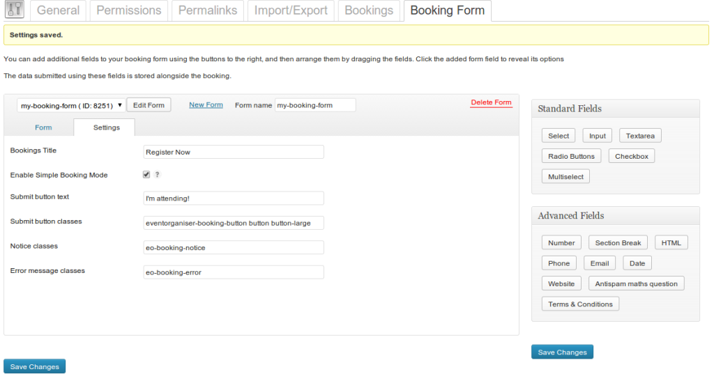 Booking form settings tab