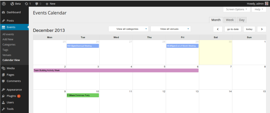Event Organiser admin calendar in WordPress 3.8