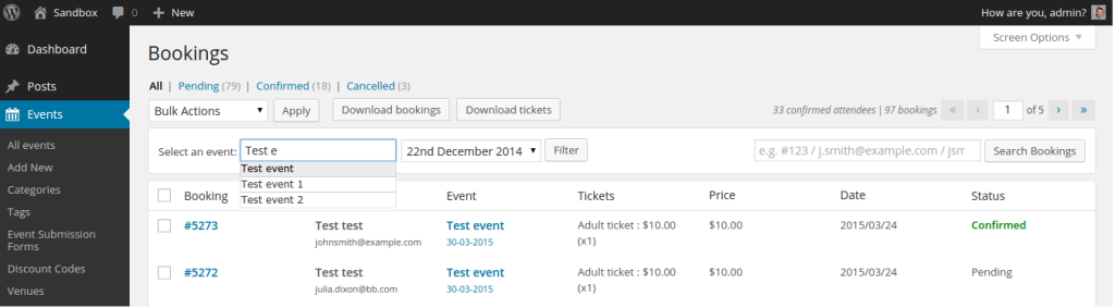 Event and occurrence filter on the bookings admin page