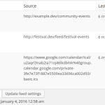 iCal feed sync status